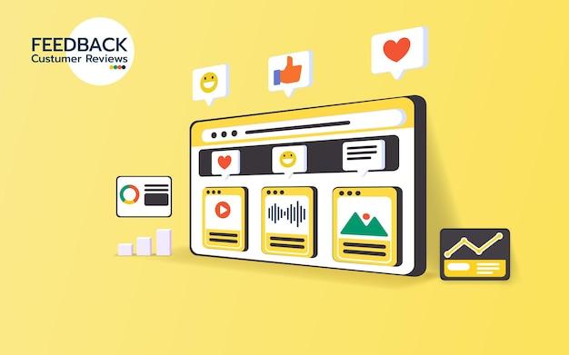 Feedback sulla pagina delle recensioni dei clienti sullo smartphone
