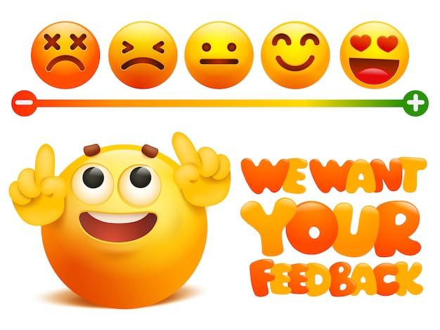 Concetto di emoji di feedback. grado di valutazione della soddisfazione.