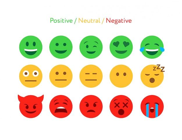 Set di icone di design piatto emoticon feedback