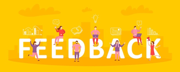 Illustrazione di feedback. le persone danno valutazioni e recensioni di feedback