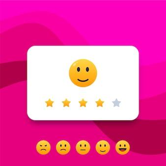 Feedback o scala di valutazione con illustrazione di sorrisi