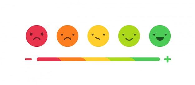 Feedback o scala di valutazione con sorrisi che rappresentano varie emozioni disposte in fila orizzontale. revisione del cliente e valutazione del servizio o del bene. illustrazione colorata in stile piatto
