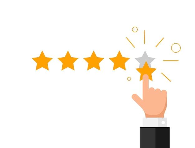 Feedback, reputazione, qualità, concetto di recensione del cliente in stile piatto. dito della mano dell'uomo d'affari che indica cinque stelle dorate illustrazione vettoriale. eps10