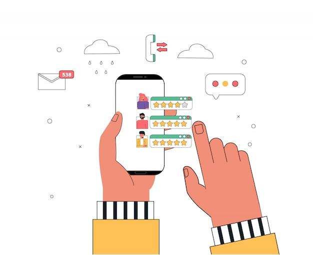 Illustrazione piatta recensione di feedback