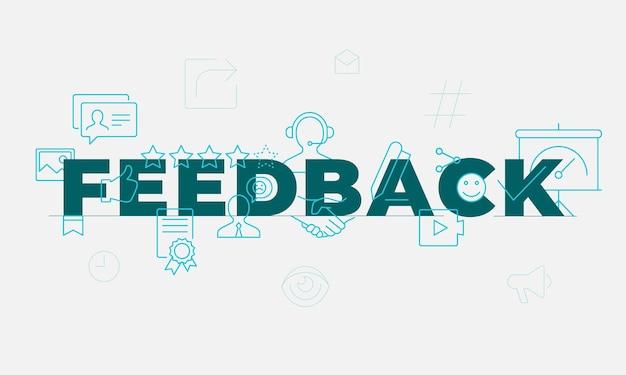 Concetto di parola di feedback. coinvolgimento dei dipendenti. soddisfazione del cliente. idea di tipografia scritta isolata con icone di linea. revisione e consigli banner di illustrazione vettoriale contorno