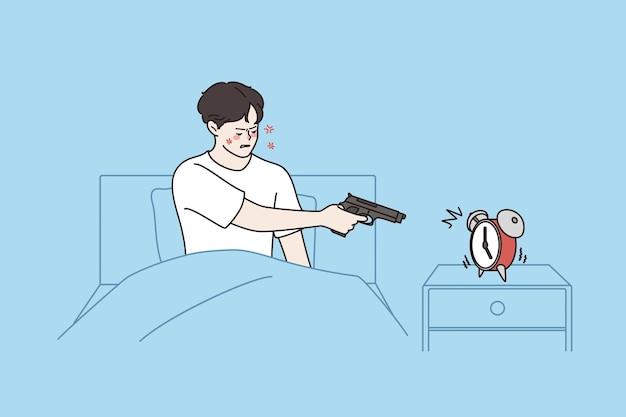 Sensazione di stanchezza e concetto insonne. giovane uomo stressato irritato che punta la pistola alla sveglia dalla mattina restando a letto su sfondo blu illustrazione vettoriale
