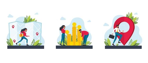 Tasse e finanziamenti, mappe, ottenere indicazioni metafore. destinazione, ricchezza. applicazione del servizio di navigazione gps. set di clipart di investimento aziendale e risparmio di denaro. illustrazioni di metafora di concetto isolato vettoriale.
