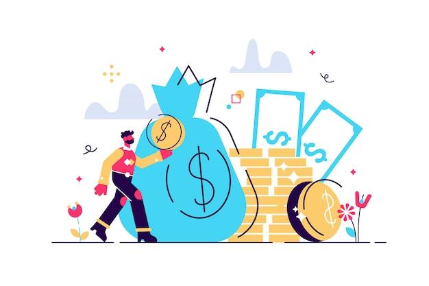 Commissioni e finanziamenti, ricca finanza per guadagnare valuta, concetto di capitale, trasferimento di denaro, commercio elettronico, illustrazione di contabilità dell'economia di successo. un sacco di soldi monete