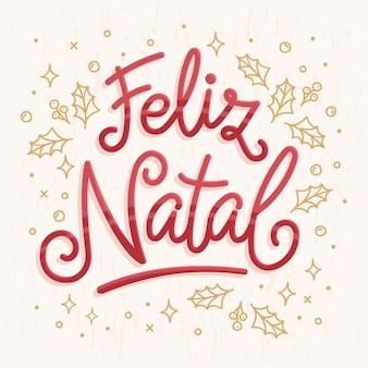 Feliz natal lettering illustrazione Vettore Premium