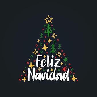 Feliz navidad, frase scritta a mano, tradotta dallo spagnolo buon natale. illustrazione vettoriale di abete su sfondo nero.