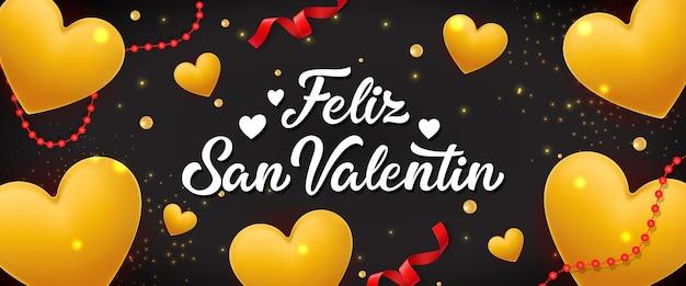 Feliz san valentin lettering