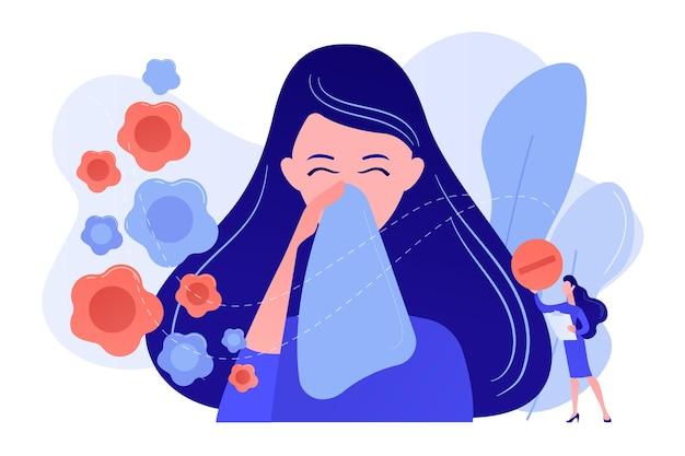 Femmina allergica ai fiori primaverili starnuti e prendendo medicine