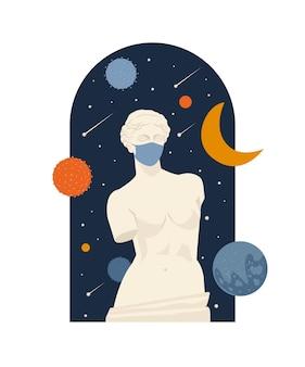 Museo della statua antica femminile del blocco pandemico per coronavirus