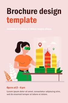 Ingegnere architetto femminile che costruisce il modello della città 3d nell'illustrazione piana degli occhiali digitali. personaggio dei cartoni animati che modellano case per uffici sul tavolo tramite vr. costruzione e concetto di visione dell'auricolare