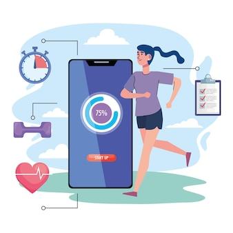 Atleta femminile che funziona con progettazione dell'illustrazione delle icone di stile di vita di forma fisica dello smartphone