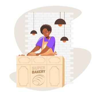 Panettiere femminile in uniforme che vende prodotti da forno freschi nell'illustrazione di vettore del ritratto del negozio di cottura