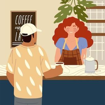 Illustrazione femminile dei personaggi dei cartoni animati dei clienti del caffè e del barista