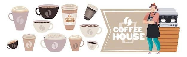 Barista femminile in uniforme che lavora nell'illustrazione orizzontale di vettore di piena lunghezza del concetto della casa di caffè del caffè