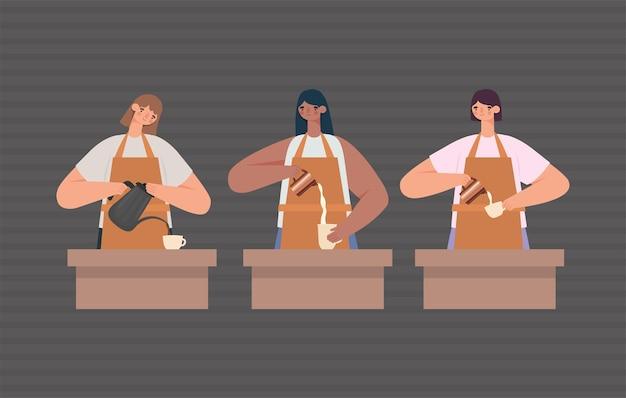 Gruppo di baristi femminili