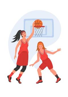 Giocatori di basket femminile donne in divisa sportiva rossa che giocano a basket concetto di lavoro di squadra