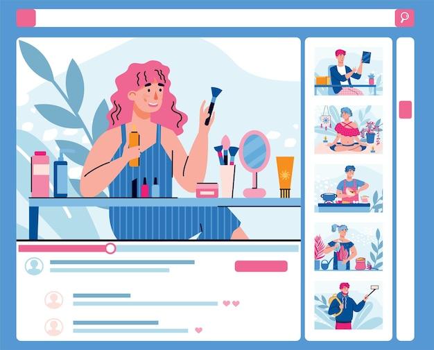 Il blogger di bellezza femminile che fa i cosmetici esamina un'illustrazione piana del fumetto di vettore