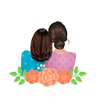 Vista posteriore delle migliori amiche femminili decorata con illustrazione vettoriale di amicizia floreale