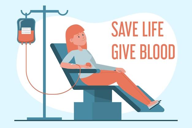 Donatore di sangue femminile che si siede nel laboratorio dell'ospedale