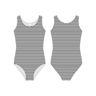 Body femminile. intimo tecnico con disegno tecnico. i corpi a strisce nere indossano per le ragazze