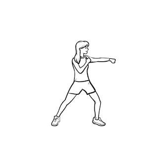 Pugile femminile che risolve icona di doodle di contorni disegnati a mano. salute e fitness, boxe donna nel concetto di palestra. illustrazione di schizzo vettoriale per stampa, web, mobile e infografica su sfondo bianco.