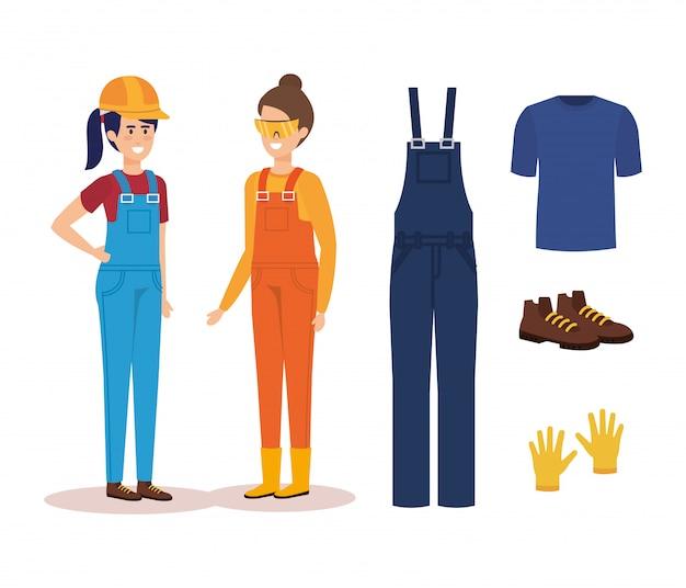 Costruttori femminili con attrezzatura