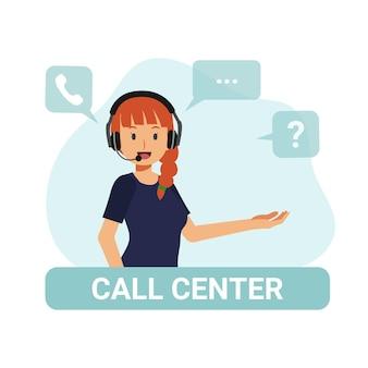 Agente femminile del call center illustrazione del carattere del catoon di vettore piatto.