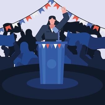 Candidato femminile che dà progettazione dell'illustrazione di vettore di giorno delle elezioni di discorso