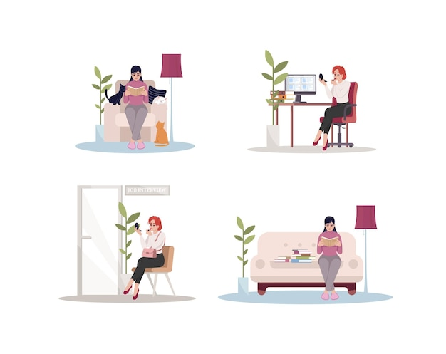 Femmina caucasica a casa e al lavoro set di illustrazioni vettoriali a colori rgb semi piatti. la donna si rilassa sul divano. la donna di affari aspetta il colloquio di lavoro. personaggio dei cartoni animati isolato donna bianca su sfondo bianco
