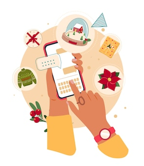 Personaggio femminile acquista regali di natale online mani di donna che tengono lo smartphone e fanno acquisti online
