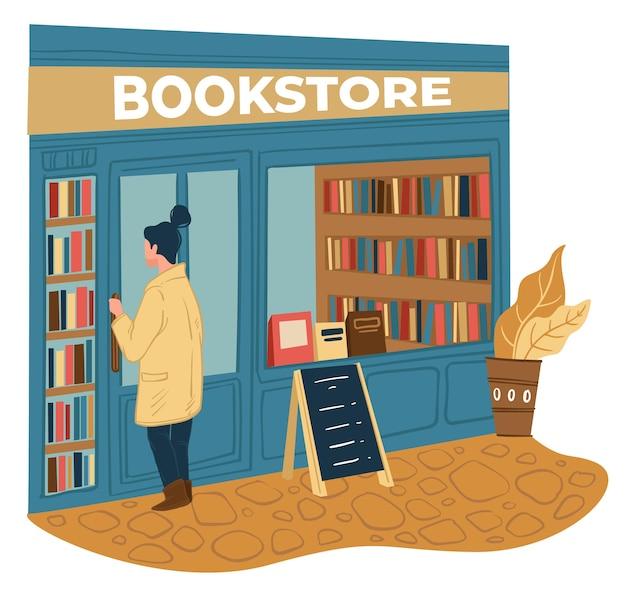 Personaggio femminile che sceglie il libro da acquistare in libreria. donna in piedi da scaffali di pubblicazioni, letteratura diversa e bestseller. studente che si diverte a leggere. hobby dello studente. vettore in stile piatto