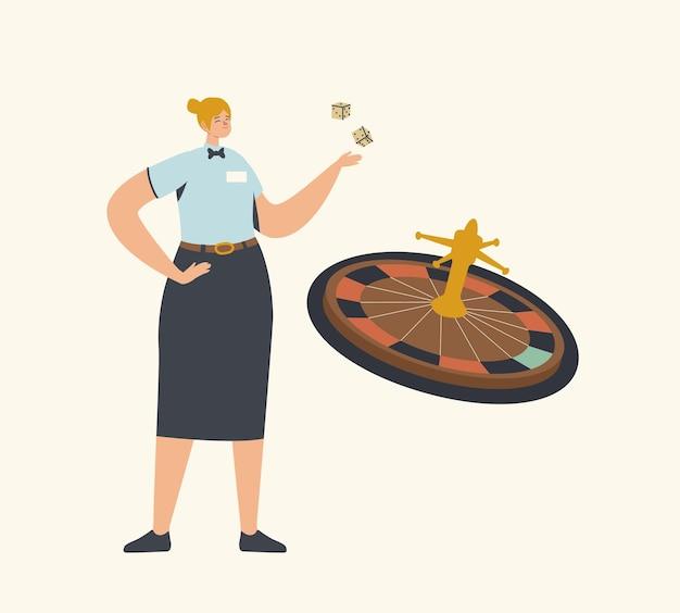 Personaggio femminile in uniforme da mazziere lancio dei dadi per il gioco della roulette della fortuna