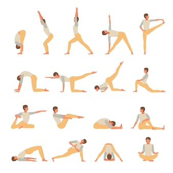 Set di yoga fitness impegnato personaggio femminile. la ragazza conduce attivamente gli esercizi di asana in posa
