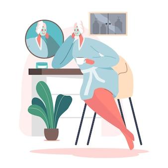 Personaggio femminile, routine quotidiana, bagno relax. procedura di igiene in bagno. giovane donna adorabile che si siede davanti allo specchio che applica la maschera facciale dopo la doccia. fumetto illustrazione vettoriale