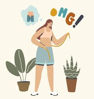 Personaggio femminile che misura la vita sorpreso dall'aumento di peso e l'abbigliamento ha una taglia piccola