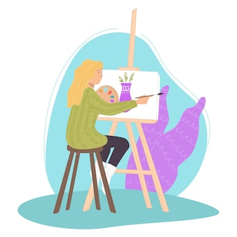Personaggio femminile che dipinge natura morta su tela usando oli o colori ad acquerello. signora con la tavolozza che si siede sulle classi o dà workshop. studente o insegnante al liceo artistico. vettore in stile piatto