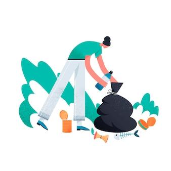 Personaggio femminile che raccoglie la spazzatura in un sacchetto