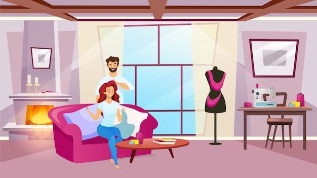 Personaggio femminile che cuce nell'illustrazione di colore accogliente della stanza. donna che fa abbigliamento con suo marito a casa. moda e creazione di capi di abbigliamento. personaggio dei cartoni animati su sfondo bianco