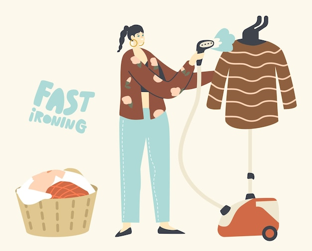 Personaggio femminile usa il ferro da stiro per la pulizia dei vestiti nel soggiorno clothing