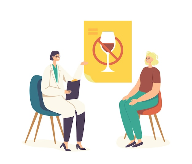 Personaggio femminile in visita narcologo per fermare la dipendenza da alcolismo. donna con sindrome da sbornia siediti davanti al dottore