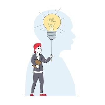Personaggio femminile con la cartella dei documenti nelle mani accendendo la lampadina enorme