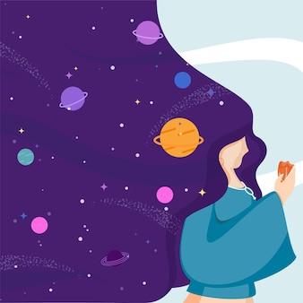 Personaggio femminile con capelli fluenti e spazio esterno o sfondo dell'universo di sogno