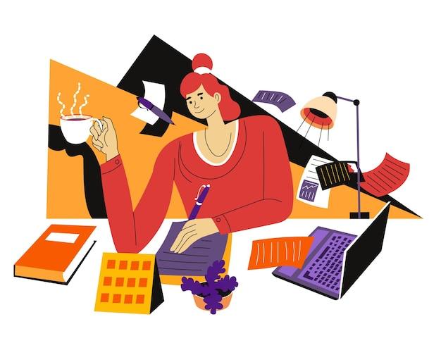 Personaggio femminile che lavora come copywriter da casa. donna con una tazza di caffè seduta al tavolo con penna e taccuino