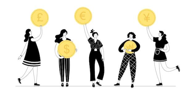 I personaggi femminili tengono in mano una moneta dollaro usa, sterlina inglese, euro e altre valute internazionali
