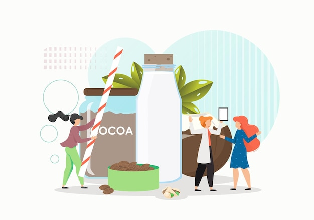 Personaggi femminili che producono cioccolato, cocco e latte di mandorle