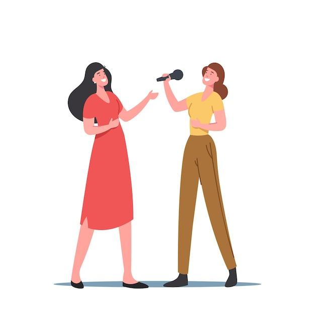 Personaggi femminili cantano con microfoni, lezioni di canto, formazione vocale o canti in karaoke. le donne sviluppano il talento